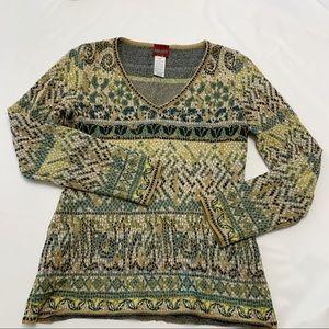 Kenzo Mosaic Tile Print V-Neck Knit Pullover Med